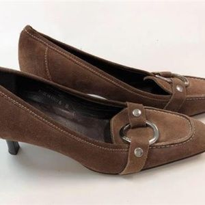 COACH SHOES Pumps Kitten Heel Brown Suede Leather